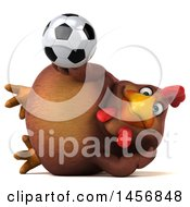 Clipart Graphic Of A 3d Chubby Brown Chicken Holding A Soccer Ball On A White Background Royalty Free Illustration