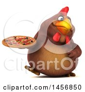 Clipart Graphic Of A 3d Chubby Brown Chicken Holding A Pizza On A White Background Royalty Free Illustration