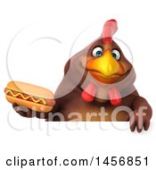 Clipart Graphic Of A 3d Chubby Brown Chicken Holding A Hot Dog On A White Background Royalty Free Illustration