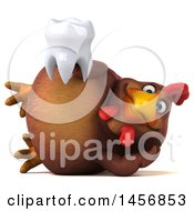 Clipart Graphic Of A 3d Chubby Brown Chicken Holding A Tooth On A White Background Royalty Free Illustration