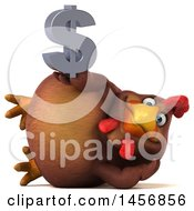 Poster, Art Print Of 3d Chubby Brown Chicken Holding A Dollar Sign On A White Background
