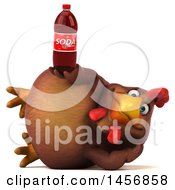 Clipart Graphic Of A 3d Chubby Brown Chicken Holding A Soda Bottle On A White Background Royalty Free Illustration