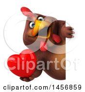 Poster, Art Print Of 3d Chubby Brown Chicken Holding A Love Heart On A White Background