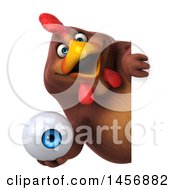 Clipart Graphic Of A 3d Chubby Brown Chicken Holding An Eyeball On A White Background Royalty Free Illustration