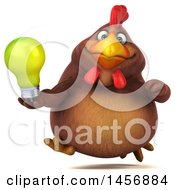 Clipart Graphic Of A 3d Chubby Brown Chicken Holding A Light Bulb On A White Background Royalty Free Illustration