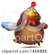 Clipart Graphic Of A 3d Chubby Brown Chicken Holding A Pill On A White Background Royalty Free Illustration