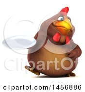 Clipart Graphic Of A 3d Chubby Brown Chicken Holding A Plate On A White Background Royalty Free Illustration
