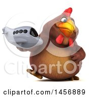 Clipart Graphic Of A 3d Chubby Brown Chicken Holding A Plane On A White Background Royalty Free Illustration by Julos