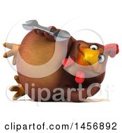 Clipart Graphic Of A 3d Chubby Brown Chicken Holding A Wrench On A White Background Royalty Free Illustration by Julos