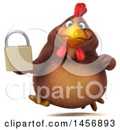 Clipart Graphic Of A 3d Chubby Brown Chicken Holding A Padlock On A White Background Royalty Free Illustration by Julos
