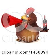 Clipart Graphic Of A 3d Chubby Brown Chicken Holding A Wine Bottle On A White Background Royalty Free Illustration by Julos