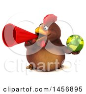 Clipart Graphic Of A 3d Chubby Brown Chicken Holding A Globe On A White Background Royalty Free Illustration by Julos