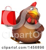 Clipart Graphic Of A 3d Chubby Brown Chicken Holding A Shopping Bag On A White Background Royalty Free Illustration by Julos
