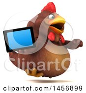 Clipart Graphic Of A 3d Chubby Brown Chicken Holding A Tablet Computer On A White Background Royalty Free Illustration