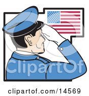 Military Man In Blue Saluting The American Flag On The Fourth Of July Clipart Illustration