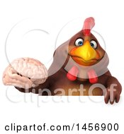 Clipart Graphic Of A 3d Chubby Brown Chicken Holding A Brain On A White Background Royalty Free Illustration by Julos