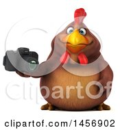 Clipart Graphic Of A 3d Chubby Brown Chicken Holding A Camera On A White Background Royalty Free Illustration by Julos