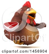 Clipart Graphic Of A 3d Chubby Brown Chicken Holding A Steak On A White Background Royalty Free Illustration