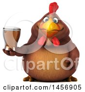 Clipart Graphic Of A 3d Chubby Brown Chicken Holding A Beer On A White Background Royalty Free Illustration by Julos