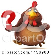 Clipart Graphic Of A 3d Chubby Brown Chicken Holding A Question Mark On A White Background Royalty Free Illustration by Julos