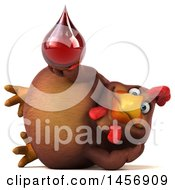 Clipart Graphic Of A 3d Chubby Brown Chicken Holding A Blood Drop On A White Background Royalty Free Illustration by Julos