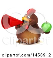 Clipart Graphic Of A 3d Chubby Brown Chicken Holding A Green Apple On A White Background Royalty Free Illustration by Julos