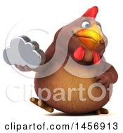 Clipart Graphic Of A 3d Chubby Brown Chicken Holding A Cloud On A White Background Royalty Free Illustration by Julos