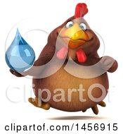 Clipart Graphic Of A 3d Chubby Brown Chicken Holding A Water Drop On A White Background Royalty Free Illustration by Julos