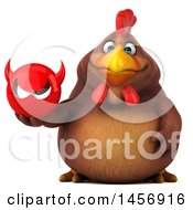 Clipart Graphic Of A 3d Chubby Brown Chicken Holding A Devil Head On A White Background Royalty Free Illustration by Julos