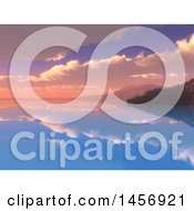 Clipart Of A 3d Still Bay With Mountains And Forests Against A Sunset Sky Royalty Free Illustration by KJ Pargeter