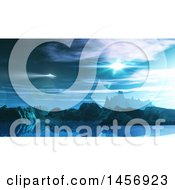 Clipart Of A 3d Ufo Over A Fictional Landscape Royalty Free Illustration by KJ Pargeter