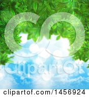 Clipart Of A Border Of 3d Green Leaves And Sunny Sky Royalty Free Illustration