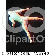 Clipart Of A 3d Medical Male Figure Kicking With Dual Color Effect Over Black Royalty Free Illustration