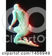 3d Medical Male Figure Kneeling With Visible Spine With Dual Color Effect Over Black