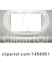 Clipart Of A 3d Blank Canvas On A White Brick Wall Over Wood Floors Royalty Free Illustration by KJ Pargeter