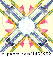 Clipart Of A Blank Circle Over An Abstract Colorful X Background Design Royalty Free Vector Illustration by KJ Pargeter