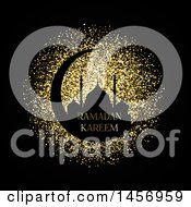 Clipart Of A Silhouetted Mosque On A Crescent Moon With Ramadan Kareem Text Over Gold Glitter On Black Royalty Free Vector Illustration by KJ Pargeter