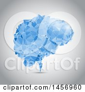 Clipart Of A Blue Geometric Low Poly Brain Made With Connected Dots On A Shaded Background Royalty Free Vector Illustration
