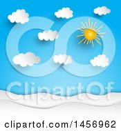 Clipart Of A Paper Cut Out Styled Sun Shining In A Blue Sky With Puffy Clouds Royalty Free Vector Illustration