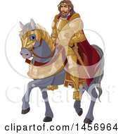 Clipart Of A Man King Arthur On A Gray Horse Royalty Free Vector Illustration by Pushkin