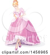 Beautiful Princess Cinderella In A Pink Ball Gown And Slippers