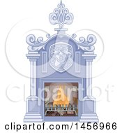 Clipart Of A Palace Fireplace Royalty Free Vector Illustration