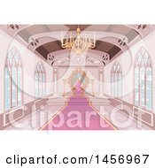 Clipart Of A Pink Medieval Castle Interior With A Carpet Leading To A Throne Royalty Free Vector Illustration