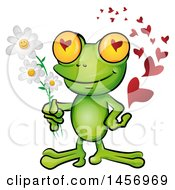 Cartoon Clipart Of A Romantic Frog Holding Daisy Flowers With A Trail Of Love Hearts Royalty Free Vector Illustration by Domenico Condello