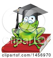 Cartoon Clipart Of A Graduate Or Professor Frog On A Book Royalty Free Vector Illustration by Domenico Condello