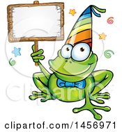 Cartoon Clipart Of A Party Frog Wearing A Hat And Holding A Blank Sign Royalty Free Vector Illustration by Domenico Condello