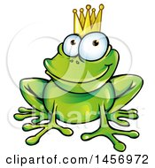 Cartoon Clipart Of A Prince Frog Wearing A Crown Royalty Free Vector Illustration by Domenico Condello