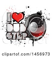 Clipart Of A Heart In An I Lopve Dubstep Design With A Music Speaker And Splatters Royalty Free Vector Illustration