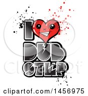 Clipart Of A Heart Mascot In An I Love Dubstep Design With Splatters Royalty Free Vector Illustration by Domenico Condello
