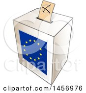 Clipart Of A Ballot In The Slot Of A European Flag Election Voting Box Royalty Free Vector Illustration